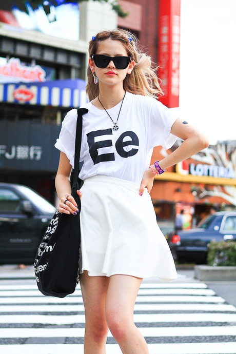 Emma, spotted in Harajuku, wearing the Cotton Jersey Helvetica Tee and the Bull Denim Canvas Cities Bag in Black by #AmericanApparel.