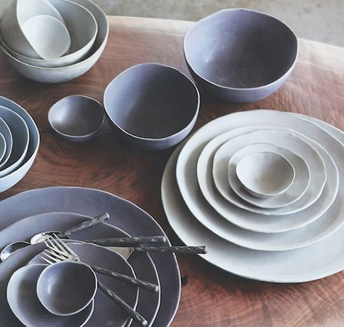 Handmade Ceramic Platter In Coastal Kitchen: Organic Handmade Nesting Stoneware Plates And Bowls