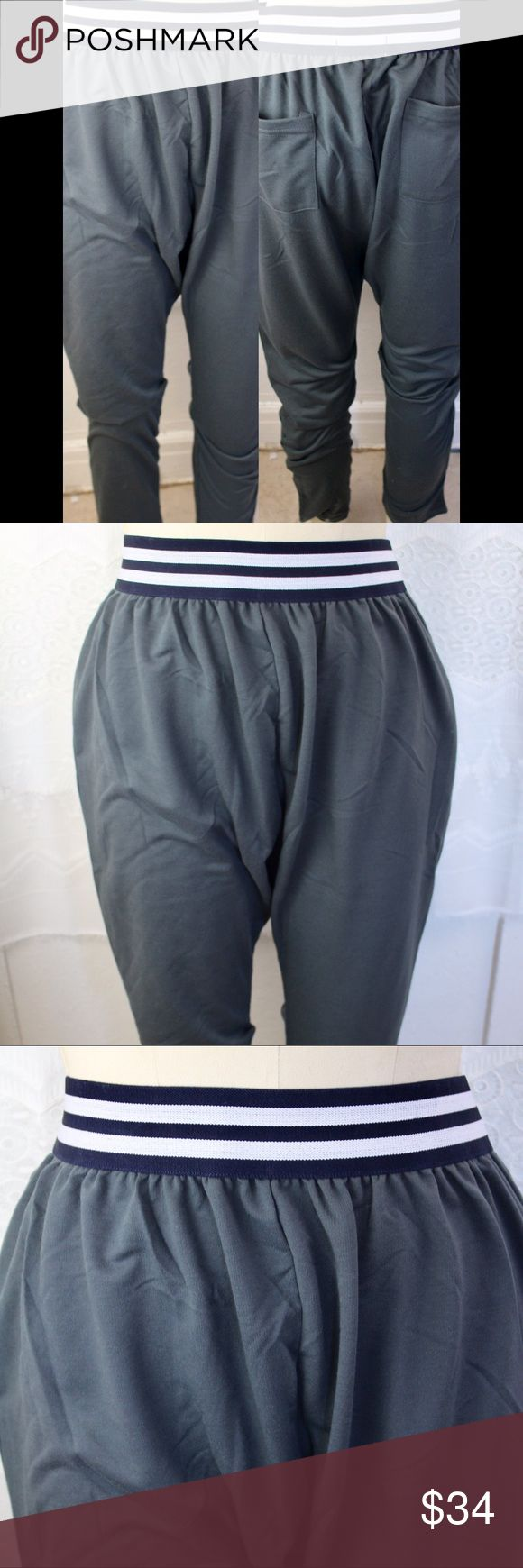 """🆕Sport Stripe Harem Trackpants 🔹Super soft comfy material!🔹Tight at ankle, baggy at hip grey harem sweatpants with black & white elastic at waist.🔹Pockets at side and back.🔹Size L.🔹Measurements are taken flat. Waist: 15.5"""" not stretched, Length: 40"""".🔹Boutique items are new from manufacturers & may not have tags.🔹No PayPal/trades/try-ons.🔹I accept reasonable offers or bundle for discount! Pants Track Pants & Joggers"""