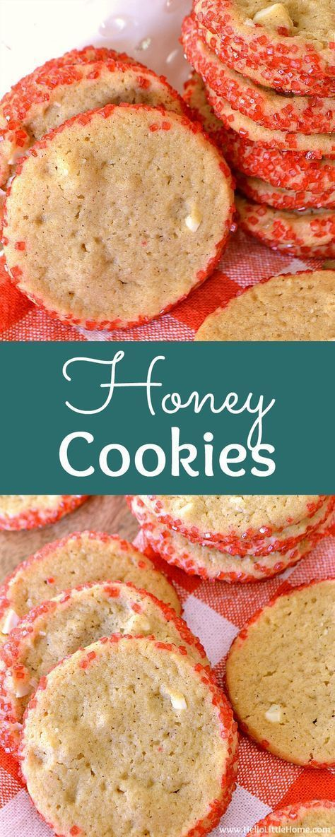 Honey Cookies recipe … your whole family will love this easy Christmas cookie recipe! These unique, old fashioned Honey Cookies are homemade with almonds and no eggs, and spiced with cinnamon and cardamon. This is a traditional Christmas cookie recipe just like mom used to make that's crispy on the edges and chewy in the middle. The best Honey Cookie recipe for the holiday season! | Hello Little Home #honeycookie #christmascookies #holidaycookierecipes #CookieRecipe #holidaybaking