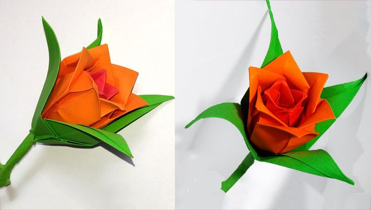 DIY paper rose in origami style. Easy paper rose.