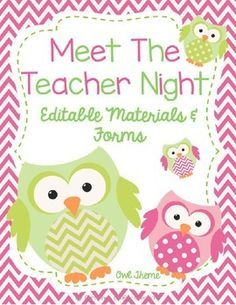 This owl theme editable meet the teacher night packet includes:* A Sign in Sheet for Parents (2 Versions)* Transportation Sheet and Transportation Slips* Welcome sign tents for Kindergarten-5th grade* School Supply Lists* Teacher Contact Information Cards (2 Versions)* Class Roster Sheet * Parent Volunteer Form* 2 Student Information Sheets* Wish List Cards* Blank Wish List CardsPlease visit my store:https://www.teacherspayteachers.com/Store/Christines-Crafty-Creations