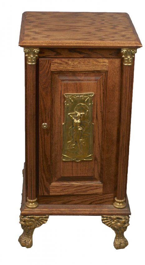 I just discovered this Wood Slot Machine Stand with Brass ...