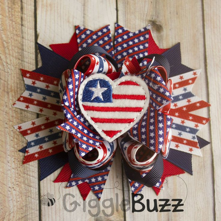 Stars and Stripes Stacked Hair Bow-fourth of July, flag, stars, red white and blue, patriotic, memorial day, Independence Day