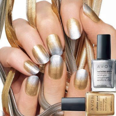 Add some sparkle to your Saturday with this two-tone nail trend. To create, simply apply Nailwear Pro+ Nail Enamel in shade Golden Vision to 3/4 of your nail. Allow to dry, then apply Nailwear Pro+ Nail Enamel in Starry Sky slightly overlapping gold shade and extending all the way to nail tip. What do you think about this new trend?  ON SALE 2/$7.99   3.99 each http://sbyers.avonrepresentative.com/
