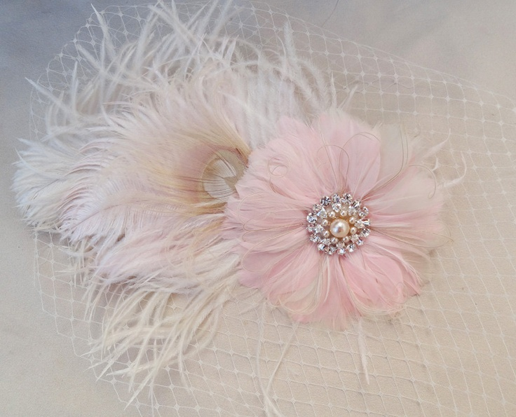 Feather Flower idea. White Peacock Feather Pale Pink Fascinator, Bridal Hair Accessory, Champagne, Pearl Swarovski Crystal, Head Piece, Flower. $175.00, via Etsy.
