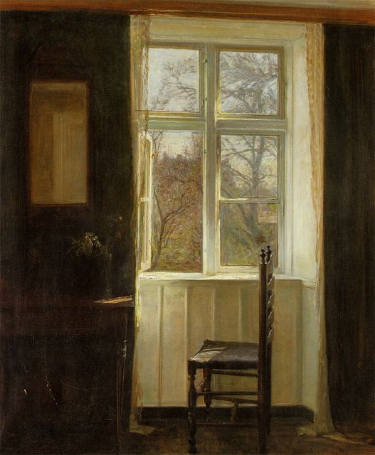 Carl Vilhelm Holsøe 'Open Window' [Danish, 1863-1935]. Holsøe and the brothers-in-law Peter Vilhelm and Vilhelm Hammershøi were leading artists in early 20th century Denmark. All three were members of 'The Free Exhibition', a progressive art society created around 1890.
