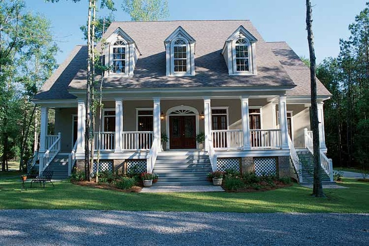 Cape cod with large porch dream on pinterest home for Low country farmhouse plans