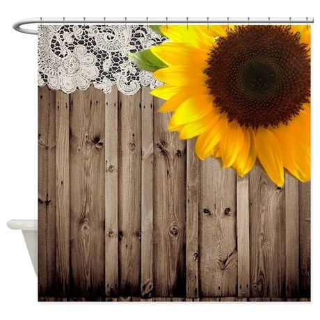 rustic barn yellow sunflower Shower Curtain on CafePress.com