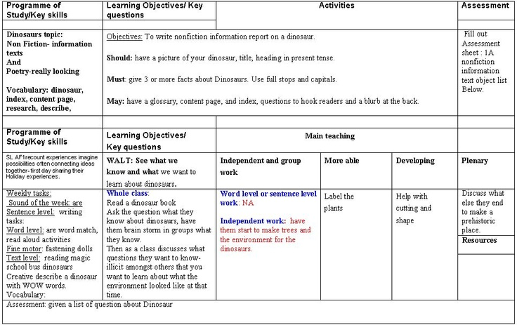 Dinosaur termly literacy planning - A literacy unit to support a dinosaur theme topic for KS1.