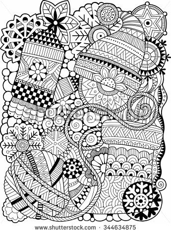 Vector Coloring Book For Adult Christmas Background