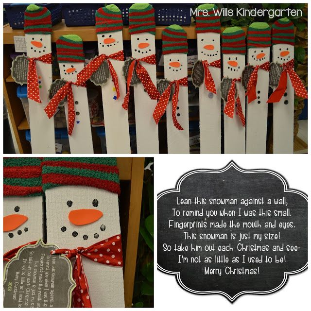 Christmas Projects DONE! These are fencepost, cut to the height of each student, painted, then decorated with fingerprints, buttons, ribbon and sock (hat.)  lots of work but so cute!