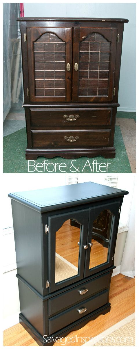 Salvaged Inspirations | Thrift Store Lingerie Bureau Before & After | How To Cut Mirror 4 Furniture