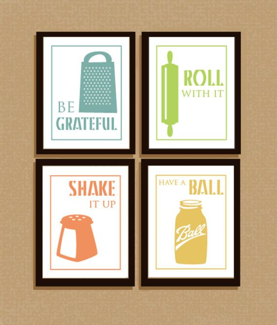 Set of 4 clever illustrated kitchen sayings typography for Kitchen cabinets quotation