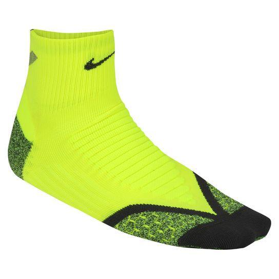 Meia Nike Elite Running Cushion Cano Baixo - Verde Limão+Preto