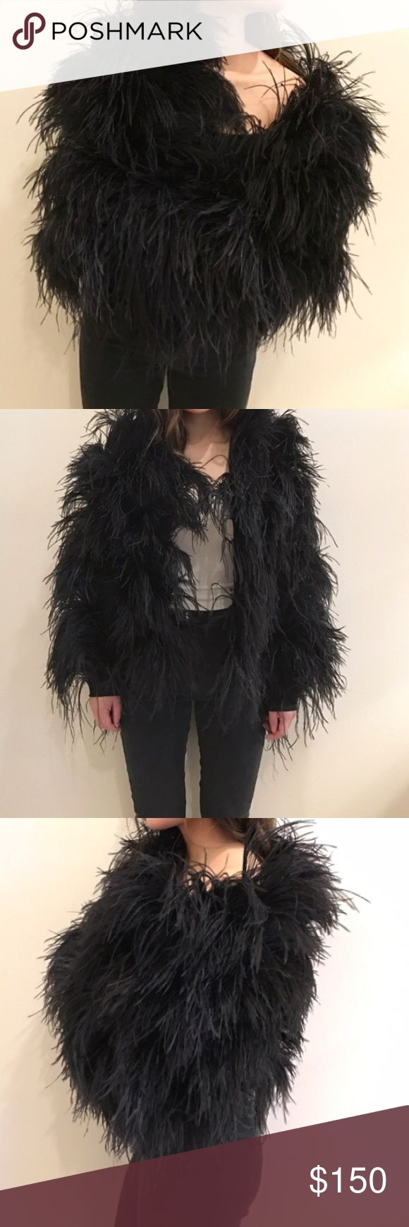 Ostrich feather coat-custom made for a music video Ostrich feather coat custom made for a music video.  Fits a XS or S.  I bought it from another posher but it doesn't fit me since I  am more like a medium :(  beautiful piece, will be great to wear to events.  Previous owner only wore it once for a music video (pictures credit to beautiful Gia) Instant center of attention with this gorgeous piece of art, very well made.    Color is black.  I will try to post more pictures later.  All offers…