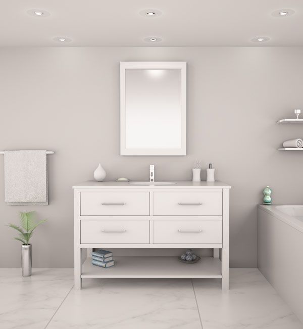 2nd Bathroom // Veneto Bath 416-48 // Available in White or Espresso // Includes ceramic counter and sink