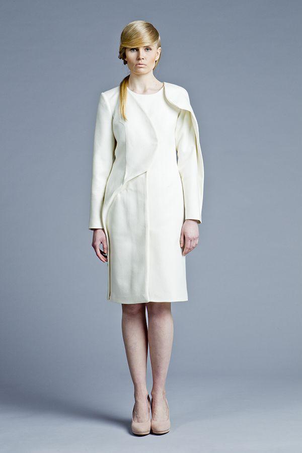 Sculptural, minimal fashion, white coat, Boska by Eliza Borkowska Look Book A/W 2013/14 Model: Magda Roman Photos: Ewelina Petryka & Krystian Szczęsny Make up: Klaudia Majewska