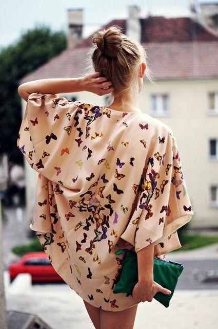 kimono.: Outfits, Kimonos Style, Blouse, Clutches, Coverup, Dresses, Kimonos Jackets, Butterflies Prints, Covers Up