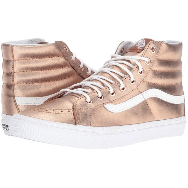 Vans SK8-Hi Slim ((Metallic) Rose Gold/True White) Skate Shoes ($75) ❤ liked on Polyvore featuring shoes, sneakers, rose gold shoes, white high tops, white skate shoes, high top shoes and vans shoes