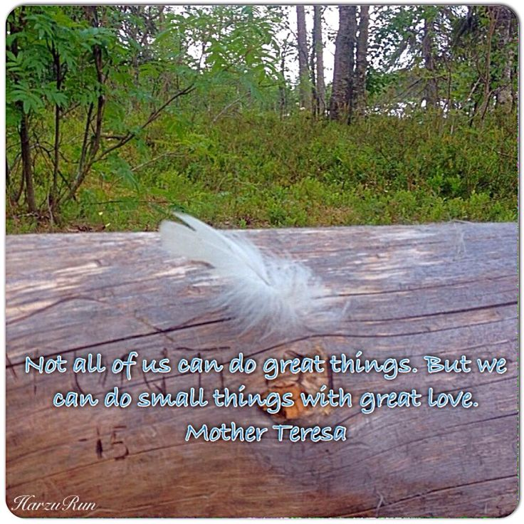 Not all of us can do great things. But we can do small things with great love. Mother Teresa  Photo Harzu Run