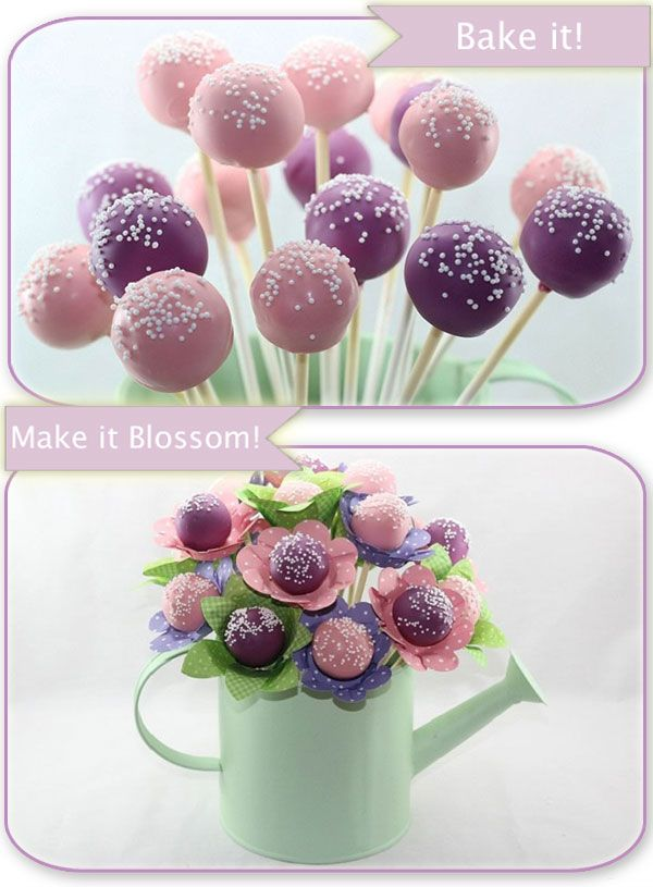 Cake pop bouquet...aww, looks just like the invitation! But if it's too hard to make, we can just stick upright in styrofoam or something
