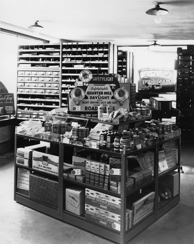 Chevrolet dealership. Parts and accessories display. 1937 ...