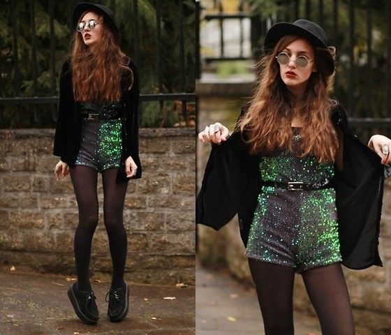Motel Rocks Sparkly Playsuit, Vintage Velvet Blouse, Sheinside Creepers. I absolutely love it when people manage to tone down something glitzy, like sequins. #edgy #sequins #outfit