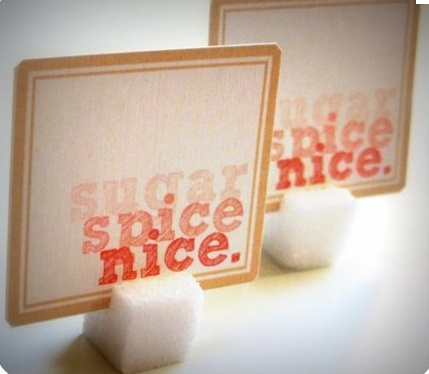 Sugar cubes for placecard holders