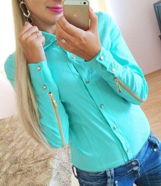 Блуза змейки С-М ткань бенгалин белая и мята Цена опт 285грн