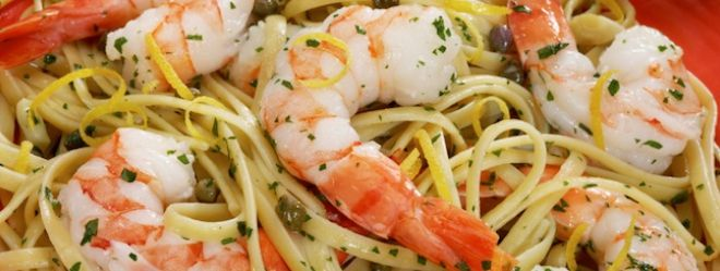 Linguines aux crevettes et au pesto