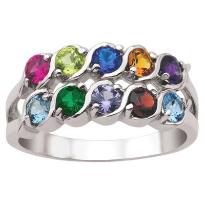Zales Mothers Birthstone Vintage-Style Triple Row Ring (3-7 Stones)