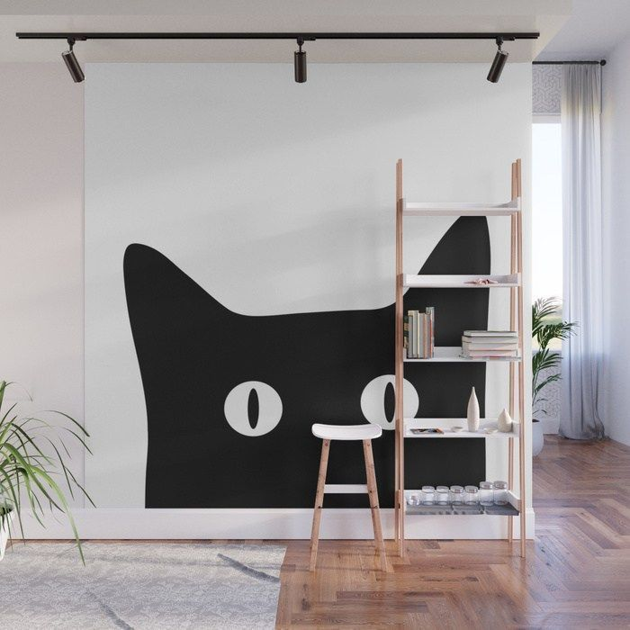 Black Cat Wall Mural From Society6.com/SummerSunHomeArt || Home Decor On A  Budget, Apartment Decorating On A Budget, Apartment Decorating College, ...