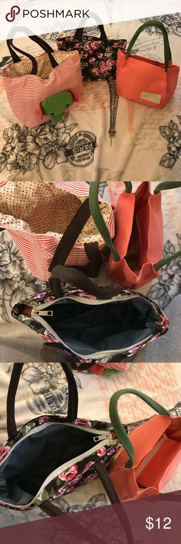 Set of 3 cute small lunch bags/small totes Super cute for holding small things such as lunches, shoes, etc  All in really good condition, none of them have been used more than twice!  SHIPS SAME DAY WITH FREE GIFTS! ☀️☀️☀️ Urban Outfitters Bags