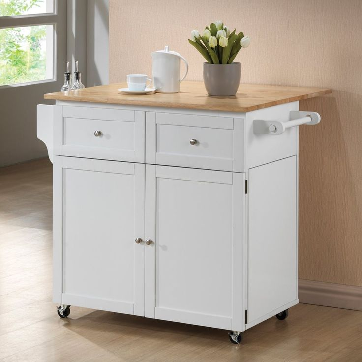 Coaster 900558 White Kitchen Cart with Light Brown Top