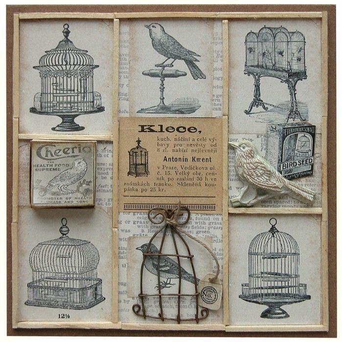 Přání retro koláž Ptačí klece