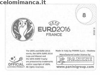 UEFA EURO 2016™ Official Sticker Album: Retro Figurina n. 8 UEFA Euro 2016™ [Primary identity]