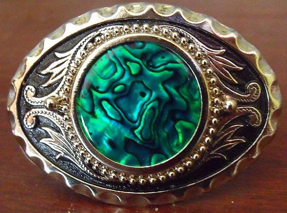 SOLD : If you are looking something unique, one of a kind, this Western Style Abalone Belt Buckle could be the custom belt buckle your searching for, Each