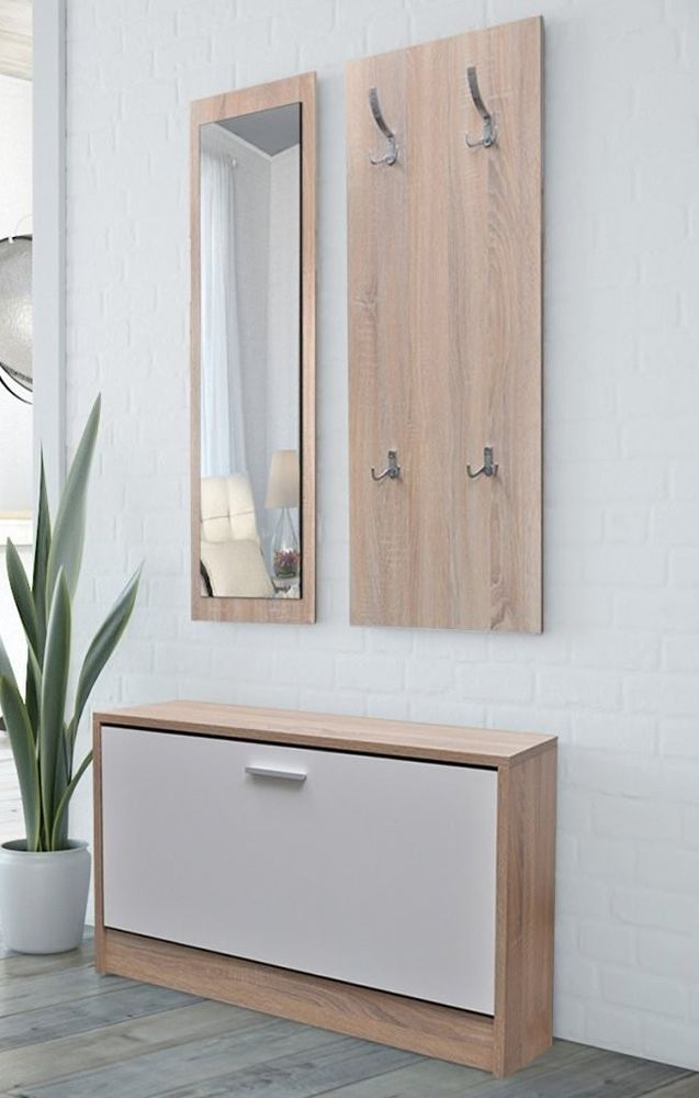 Modern Hallway Set Bench Cabinet Wooden Shoes Storage Mirror Hanger White Oak