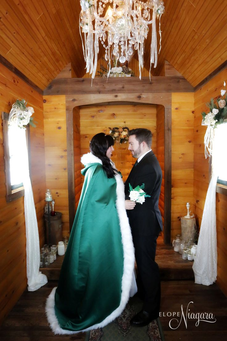 Cozy and warm on St. Patrick's day at The Little log Wedding Chapel in Niagara