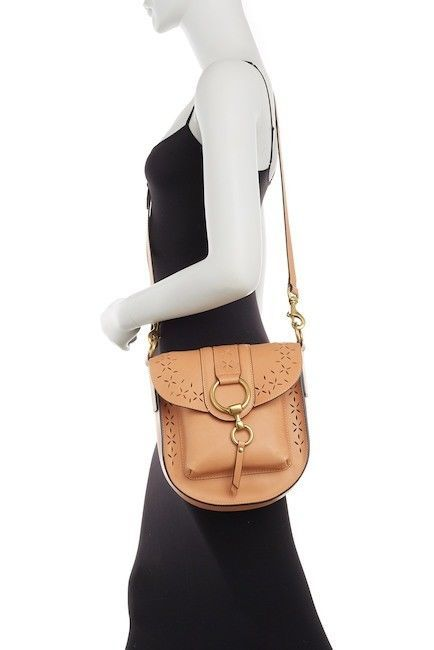 3aeb743149 NWT Frye Ilana Harness Perforated Leather Saddle Bag Purse Light Tan MSRP   398  Frye