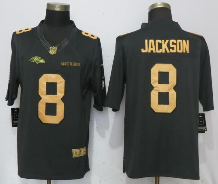 san francisco e3124 ec105 Men Baltimore Ravens 8 Jackson Gold Anthracite Salute To ...