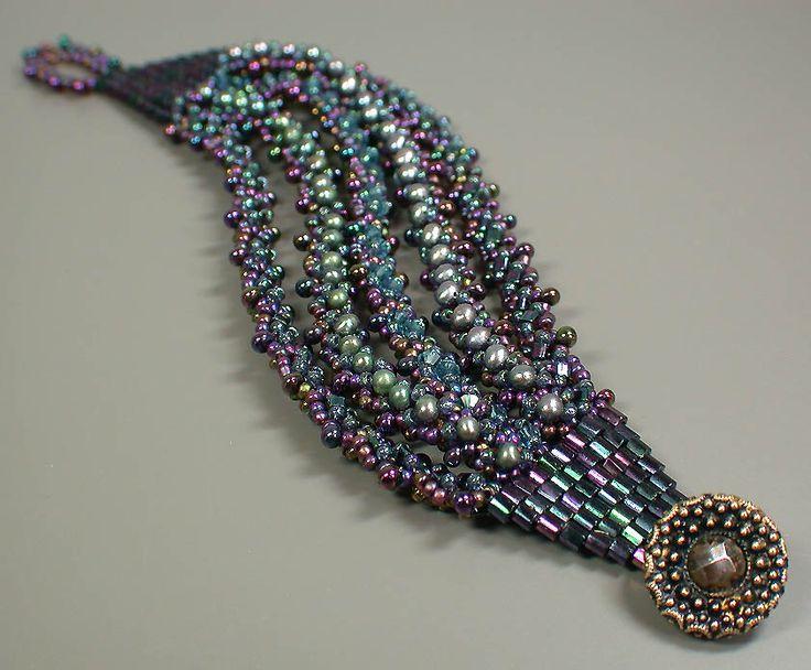 Purple Teal and Green Reversible 5 Strand Bracelet 01d.jpg 842×696 pixels