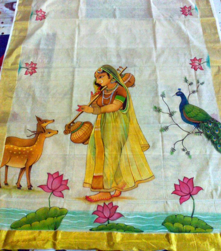 Varnachithra sarees new designs kerala mural for Fabric mural designs