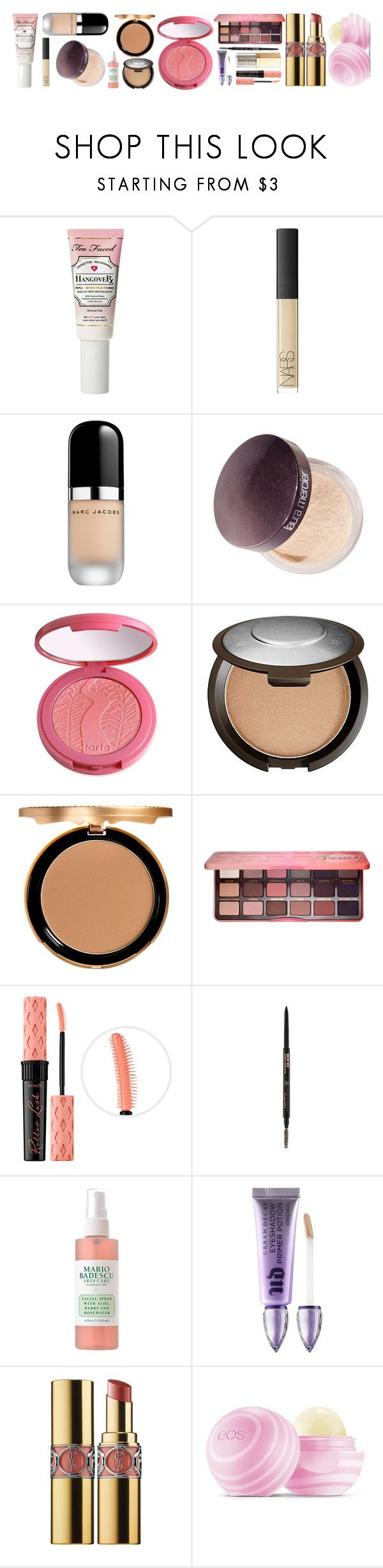 """""""Full Face of Makeup"""" by annajanssonrocks on Polyvore featuring beauty, Too Faced Cosmetics, NARS Cosmetics, Marc Jacobs, Laura Mercier, tarte, Becca, Benefit, Urban Decay and Yves Saint Laurent"""