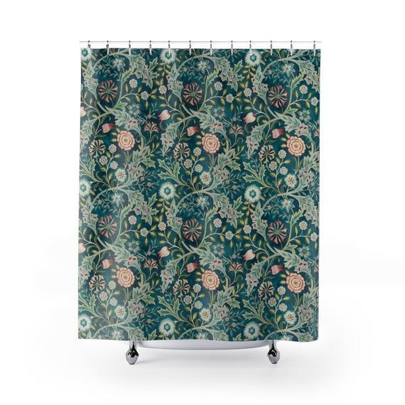 William Morris Shower Curtain Wilhelmina Dark Blue Print Design