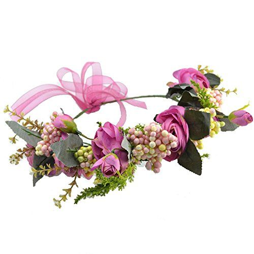 Women Flower crown Headband with Adjustable Ribbon for Wedding festival *** You can get additional details at the image link.