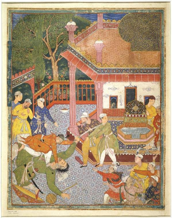Illustration from the Hamza Nama A fight between Hamza and the giant, Zamurrad, with a sword, in an enclosure in which stands a throne under a balcony; various onlookers Calligraphy  Maker: Unknown; miniaturist  Category: miniature (painting)  School/Style: Mogul School