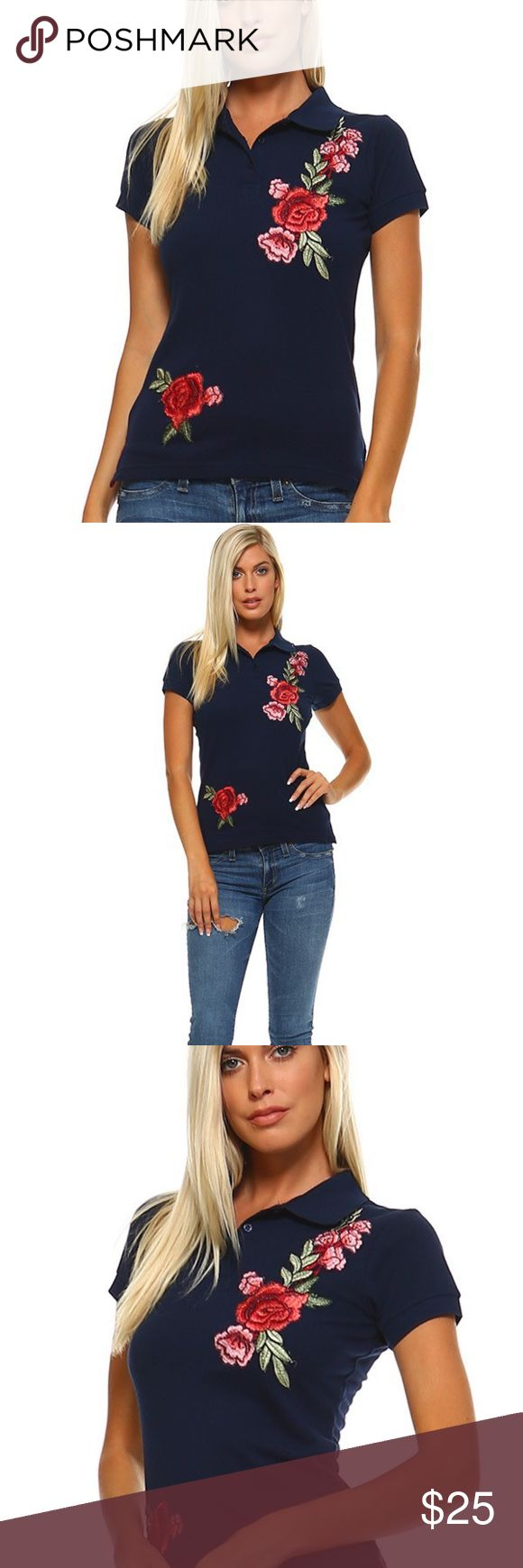 TOP NAVY BLUE POLO SHIRT WITH ROSE EMBROIDERY PATCH 50% COTTON 45% POLYESTER 5% SPANDEX Tops Tees - Short Sleeve