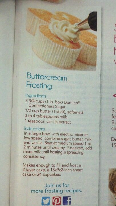 Buttercream frosting, I used this for my daughters birthday cake and it was so easy! Very delicious as well!